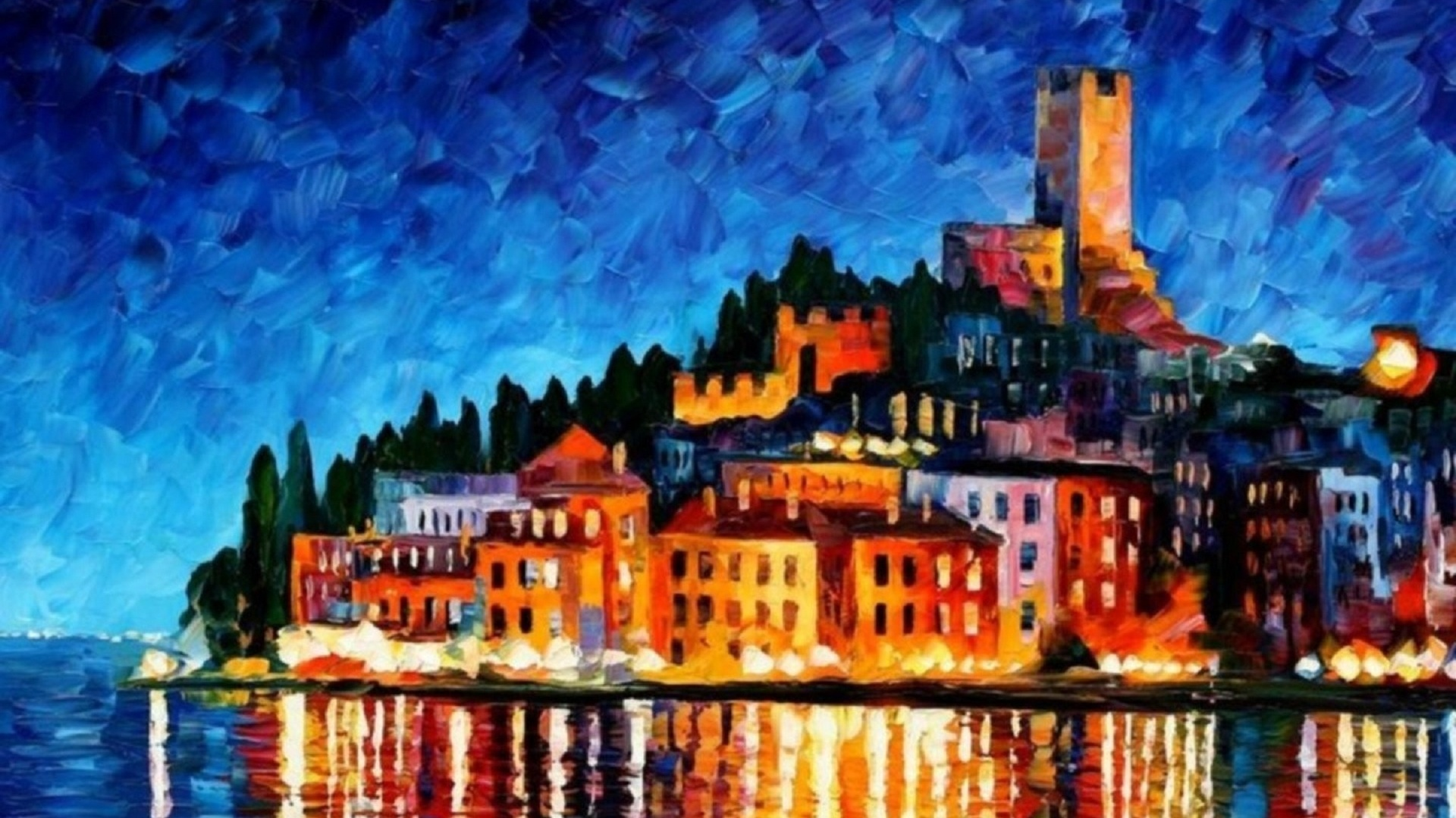 1920x1080 Art Painting City Leonid Afremov City Leonid 1920x1080