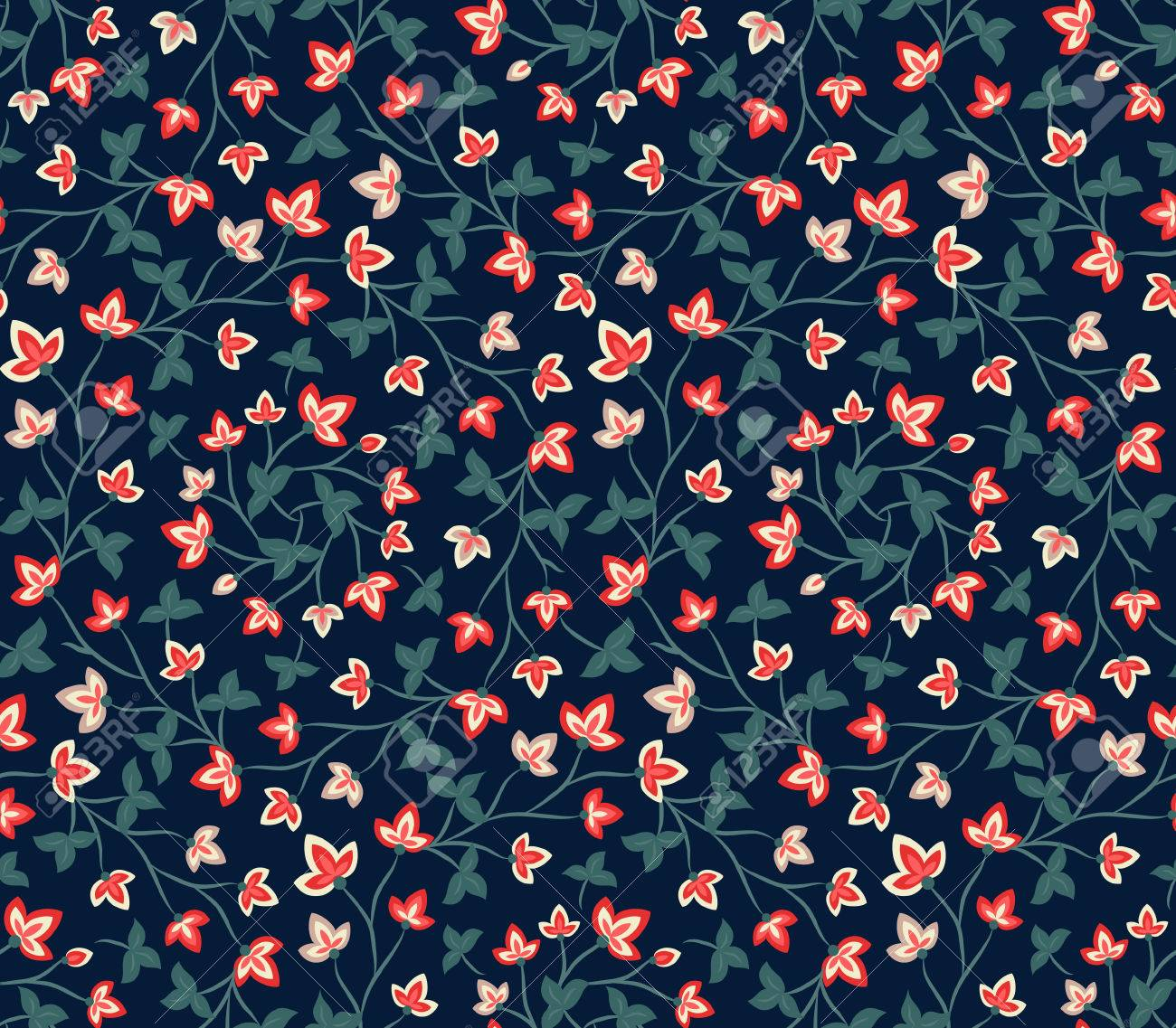 Floral Seamless Pattern Jacobean Style Flowers Colorful Herbal 1300x1137