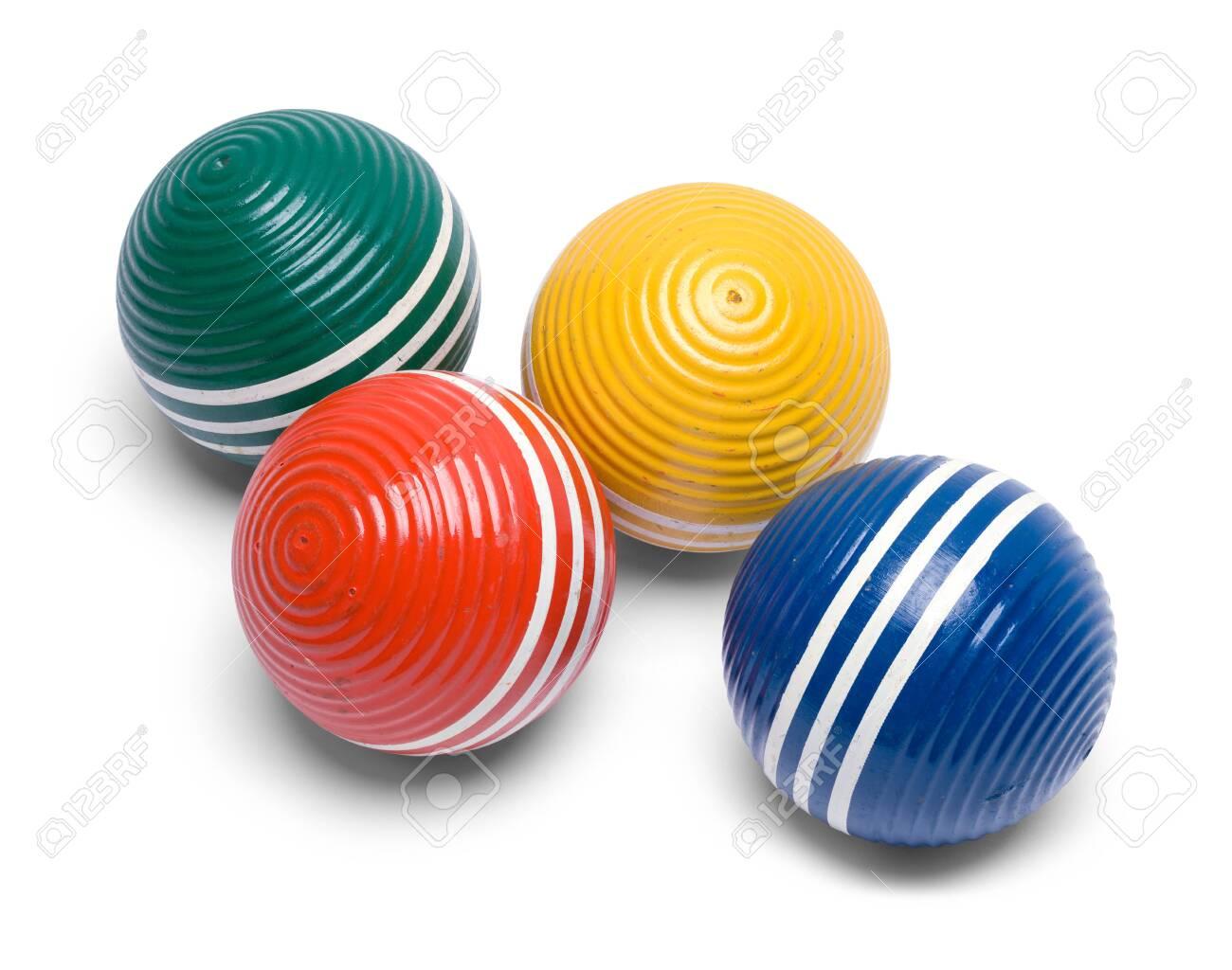 Four Croquet Balls Isolated On White Background Stock Photo 1300x1024