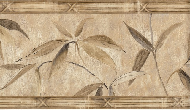 MT2004B Bamboo Leaf Floral Topical Wallpaper Border tropical wallpaper 640x372