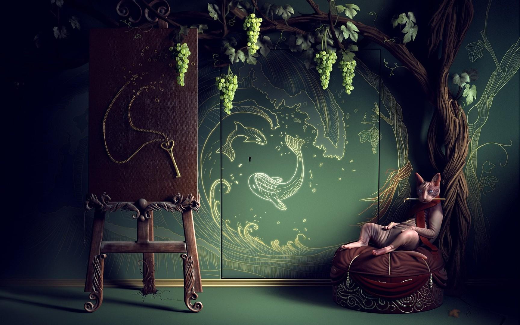 Download Bohemian painter cat wallpaper 1728x1080