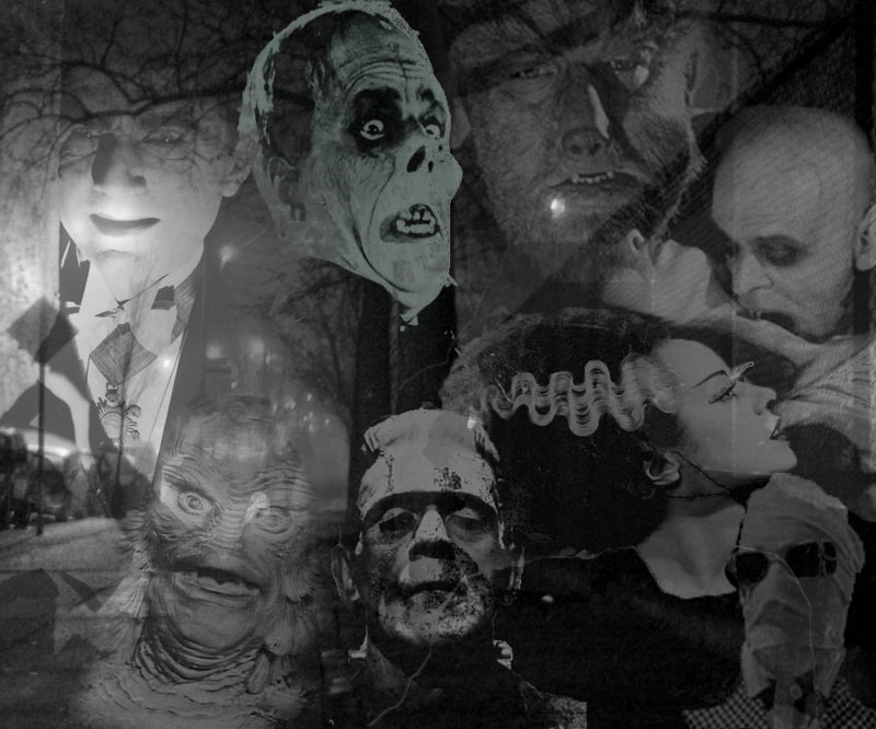 Classic Horror Monsters of Old by goldiechik 800x666