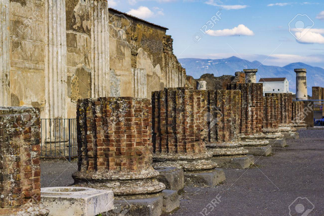 Columns And Ruins Of Ancient City Of Pompeii In Italy With 1300x866