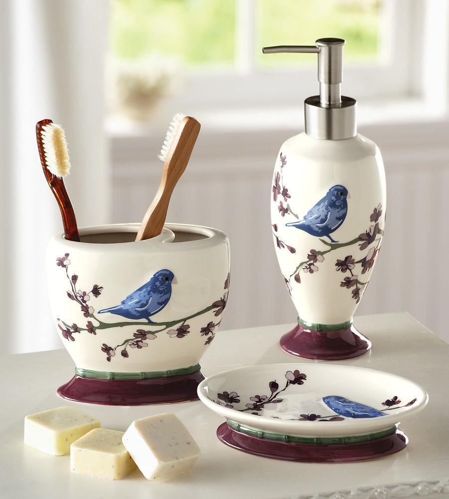Free download Bird Bathroom Accessory Set Blue Bird Floral Bath