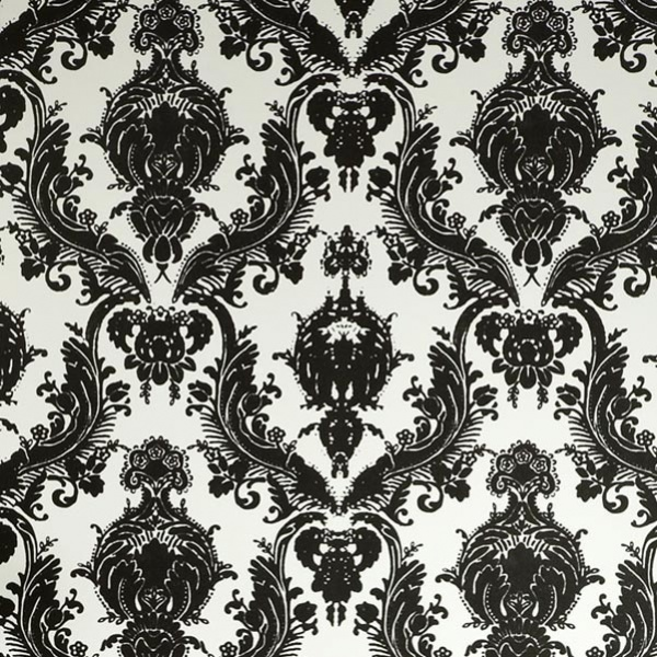 Tempaper Damsel Wallpaper Black and White by Couture Deco 600x600