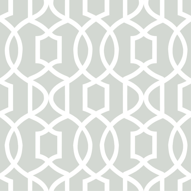 Modern Trellis Peel and Stick Wallpaper Gray 4 Rolls   Transitional 640x640
