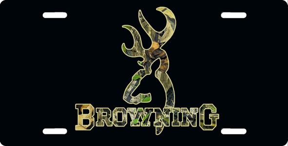Browning Reverse Camouflage on Black License Plate License Tag 591x300