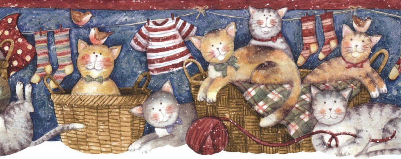 Details about Wallpaper Border Country Cats Playing In Laundry 1280x507