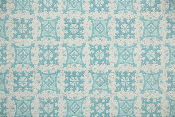 1950s Vintage Wallpaper Blue and White by HannahsTreasures 570x380