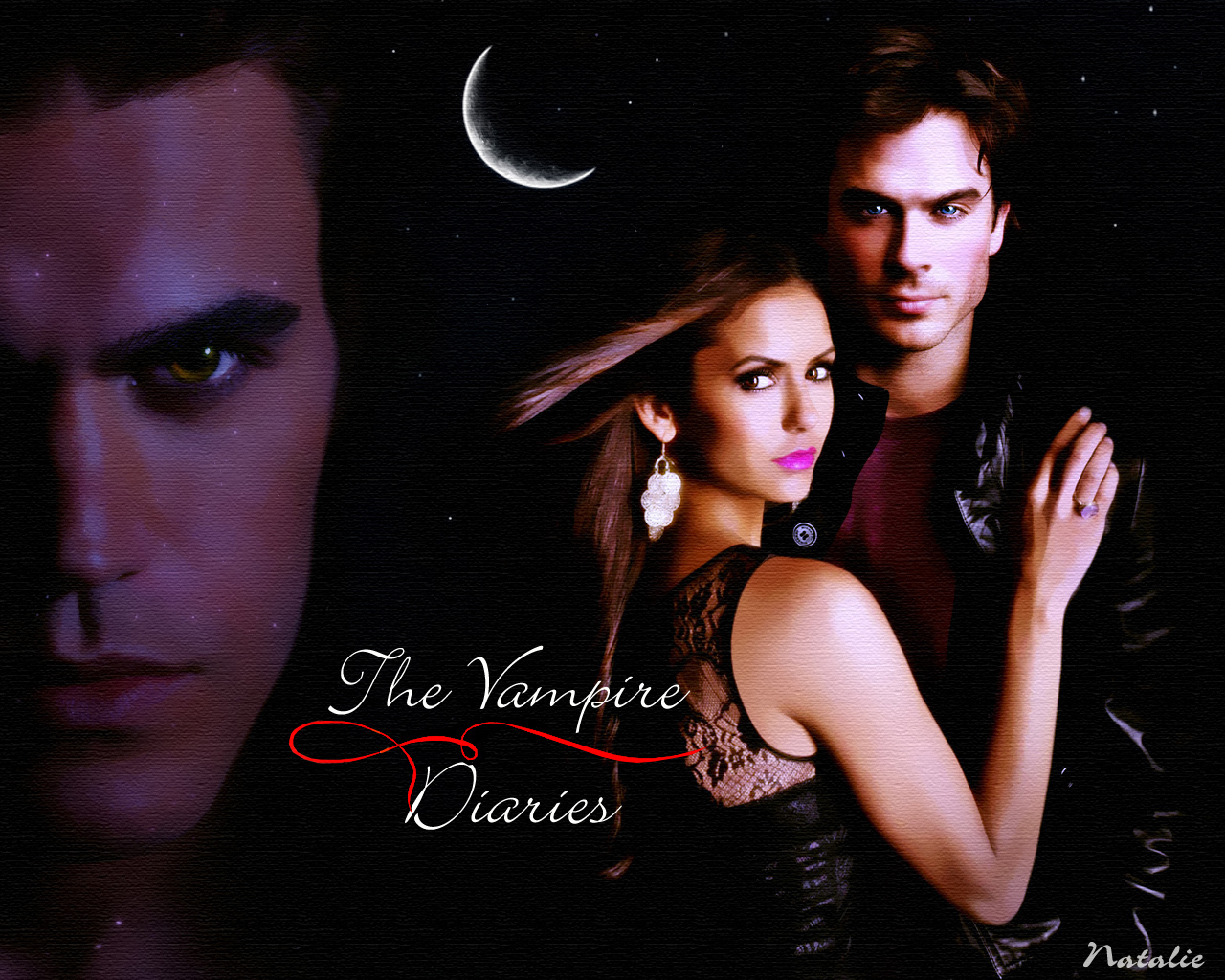 StefanElenaDamon   The Vampire Diaries Wallpaper 16110173 1280x1024