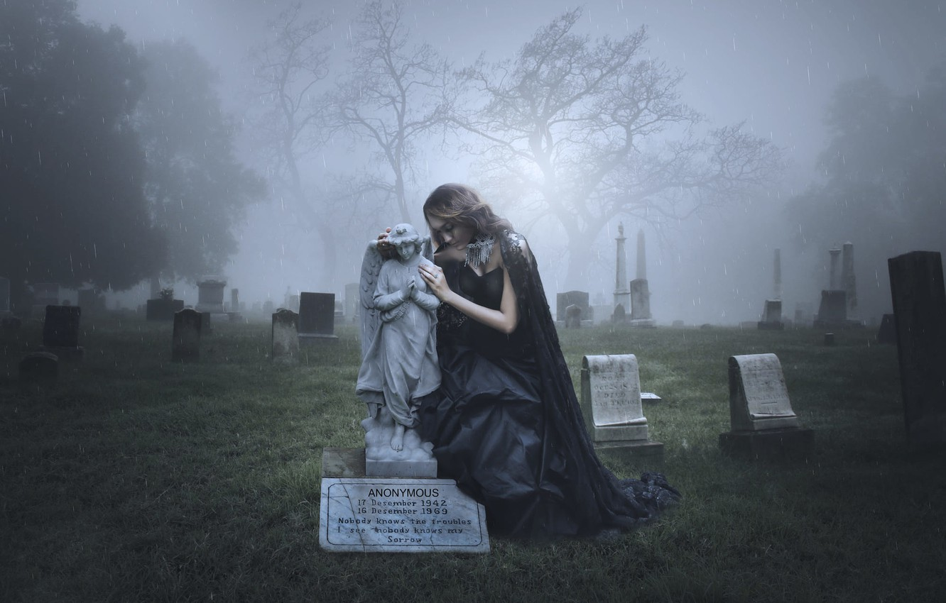Wallpaper girl rain angel cemetery headstone mourning images 1332x850