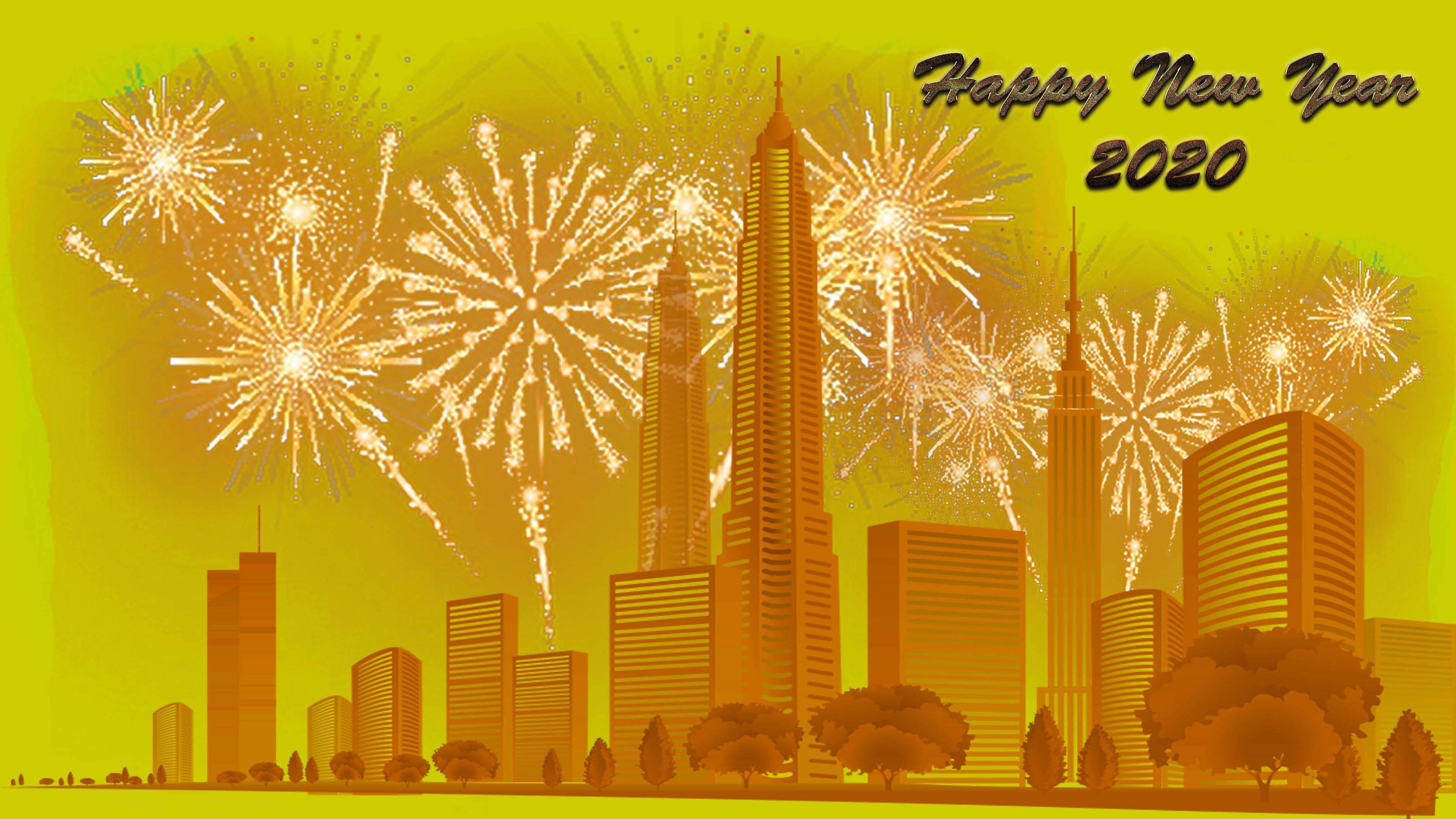 Happy New Year 2020 City Buildings Fireworks 4k Ultra Hd Tv 3840x2160