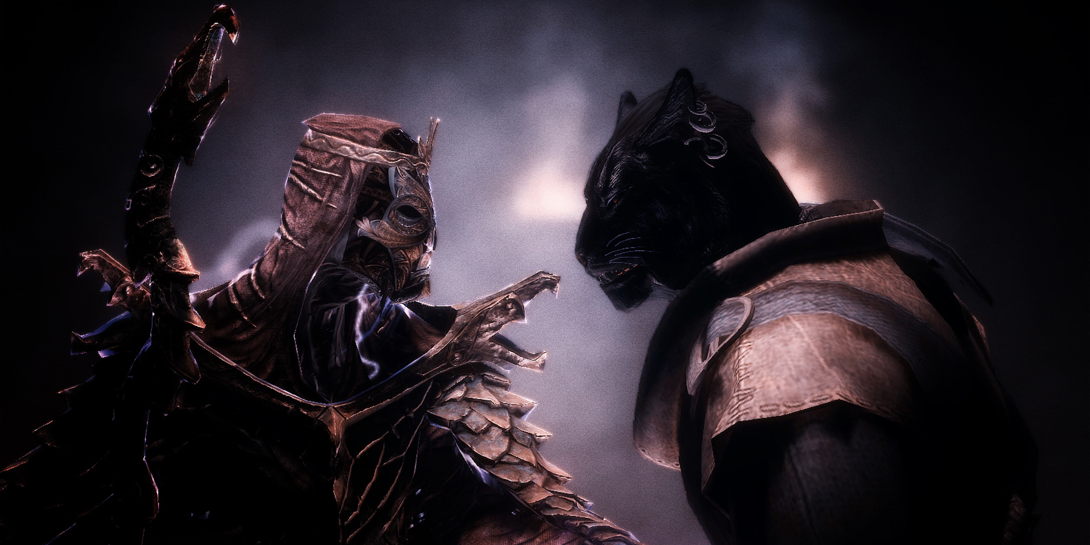 Power Ranges digital wallpaper The Elder Scrolls V Skyrim cat 3780x1890