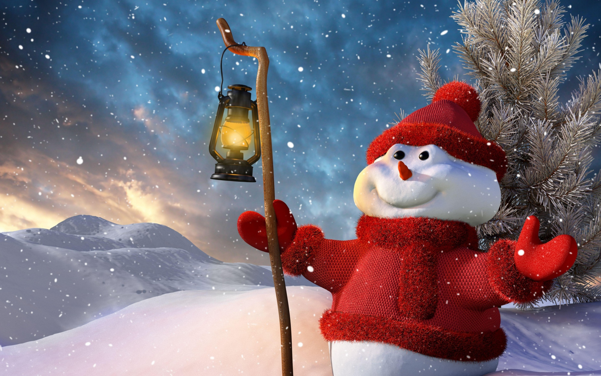 Download Wallpaper 1920x1200 New year Christmas Snowman Lamp Tree 1920x1200