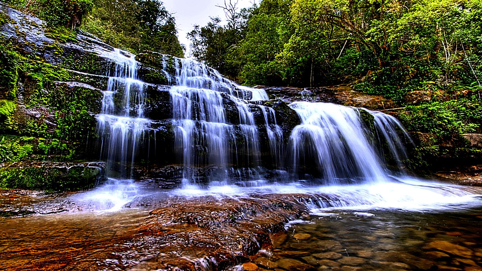 Wallpaper Waterfalls Great World 1920x1080