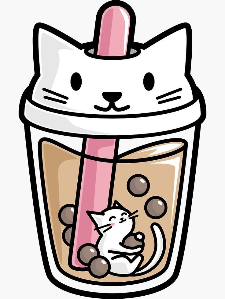 Bubble Tea with White Cute Kawaii Cat Inside Sticker by BobaTeaMe 736x981