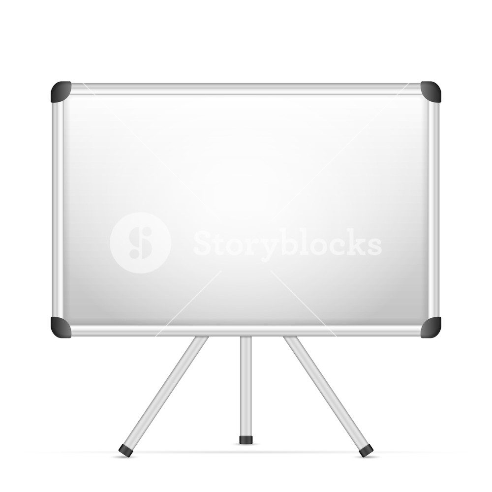 Whiteboard with tripod on a white background Royalty  Stock 1000x1000