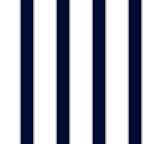 Cool Kids White and Navy Wide Stripe and Pinstripe Wallpaper 500x500