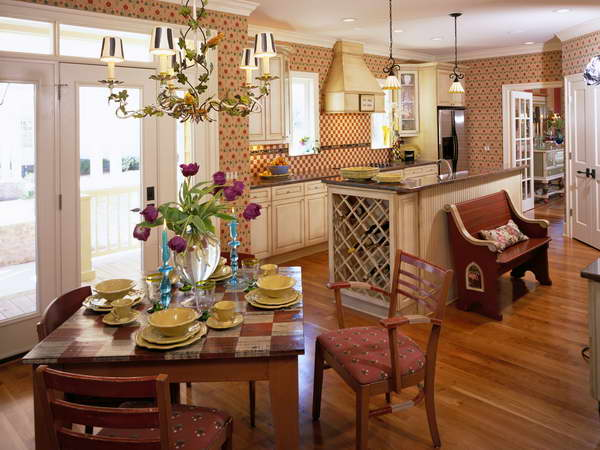 French Country Kitchen With Wallpaper french style kitchens french 600x450