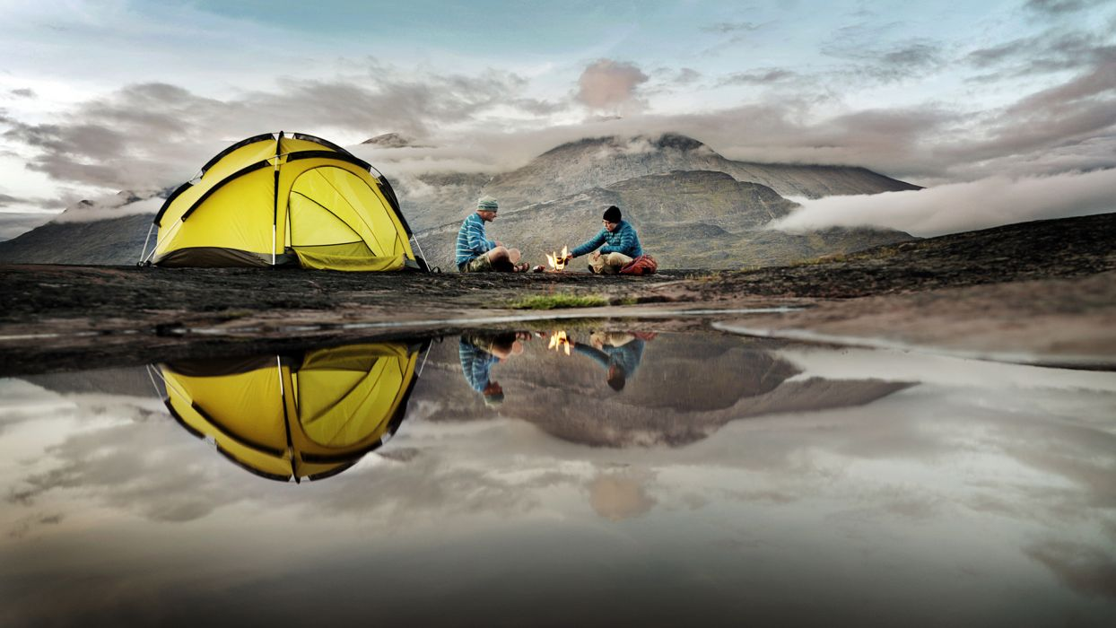Tent Reflection Camp Camping sports lakes water mountains people 1244x700