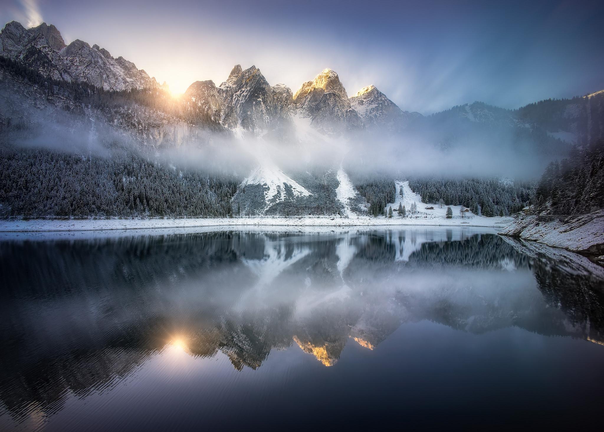 Alpenglow at lake Gosausee HD Wallpaper Background Image 2048x1466