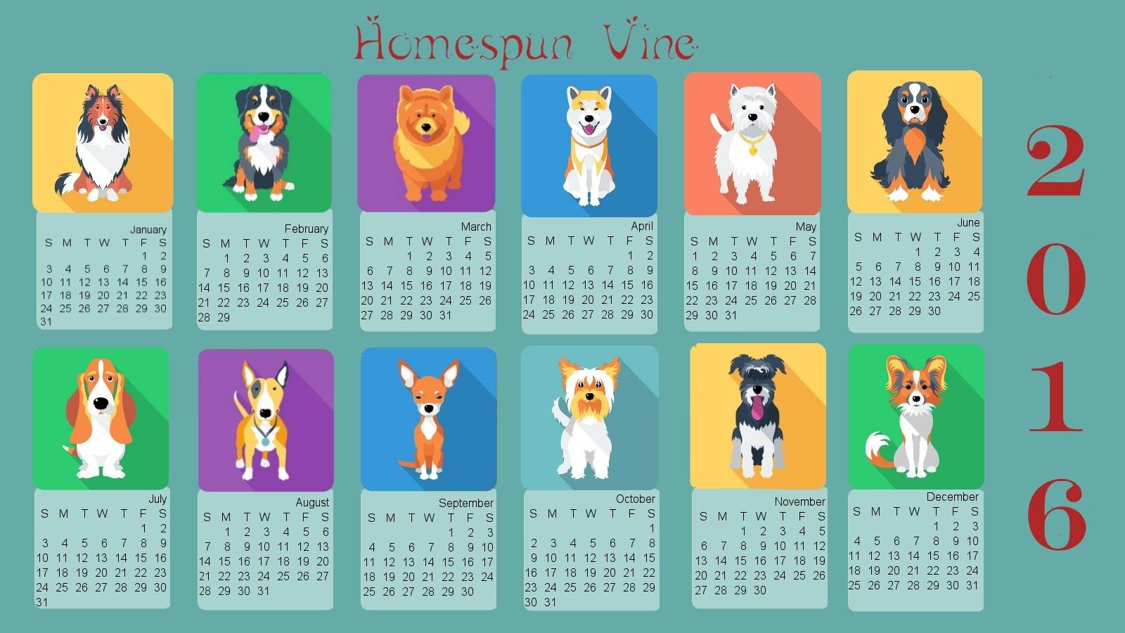2016 Doggies Desktop Wallpaper With Calendar Homespun Vine 1600x900