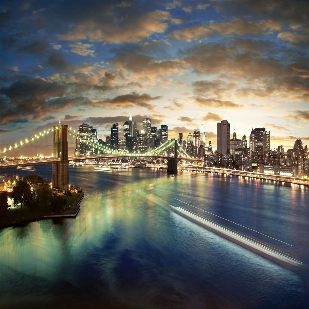 City Brooklyn Bridge iPad Air Wallpaper Download iPhone Wallpapers 1024x1024