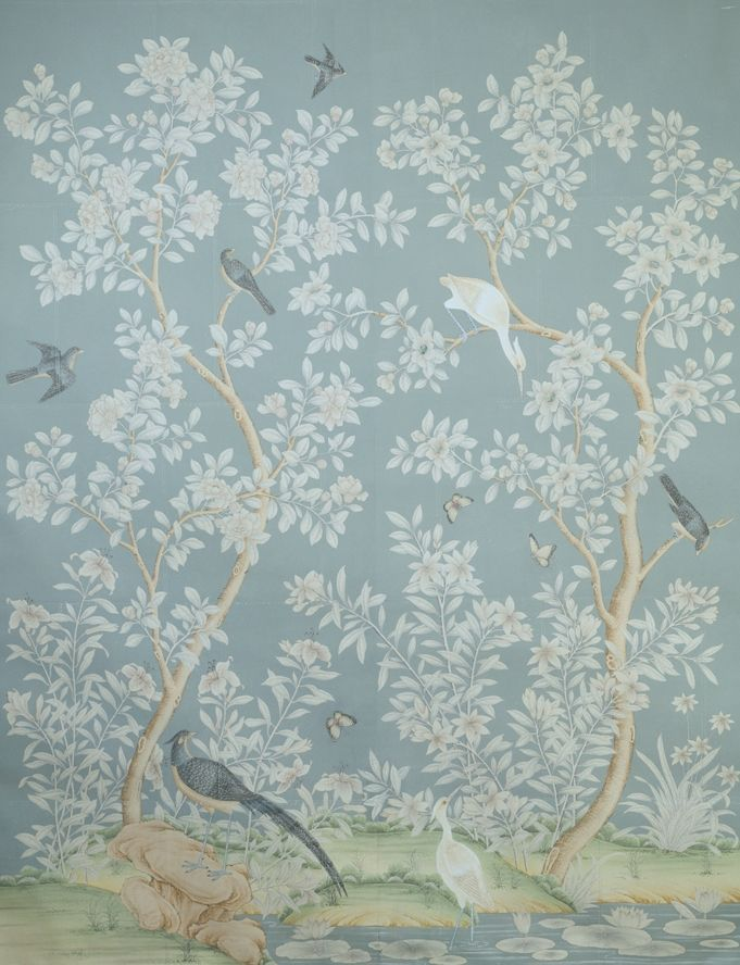 Gracie Wallpaper hand painted Chinese scenic panel created in the 681x888