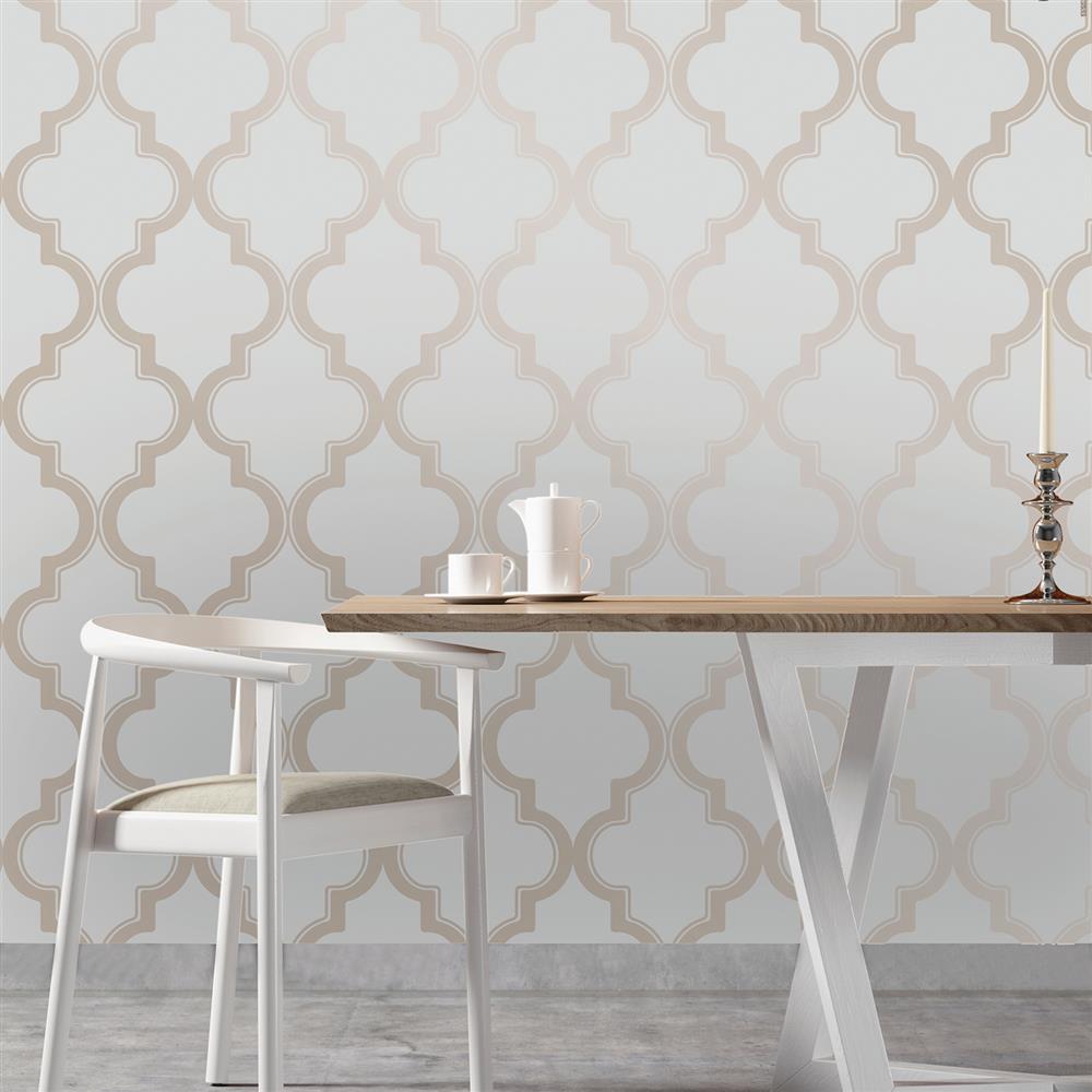 Moroccan Trellis Global Bazaar Grey Beige Removable Wallpaper Kathy 1000x1000