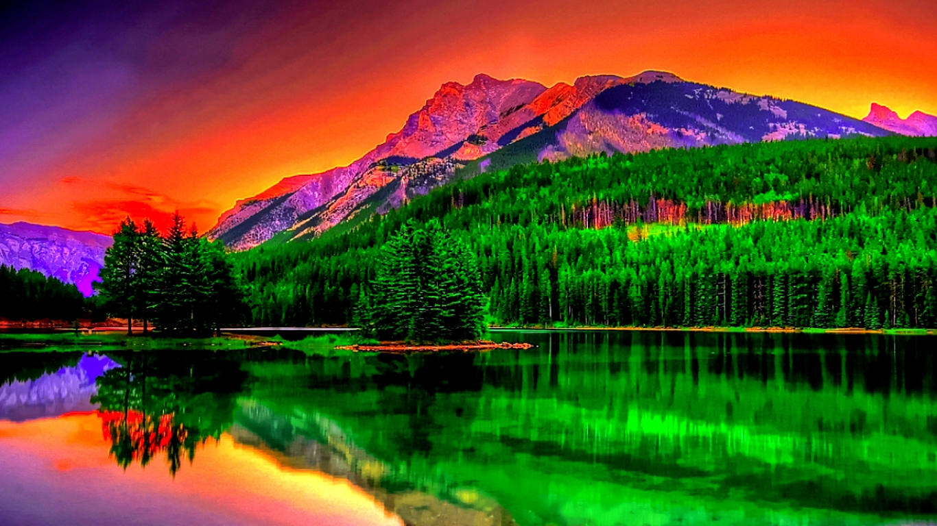 Nature reflection on lake background 1366x768