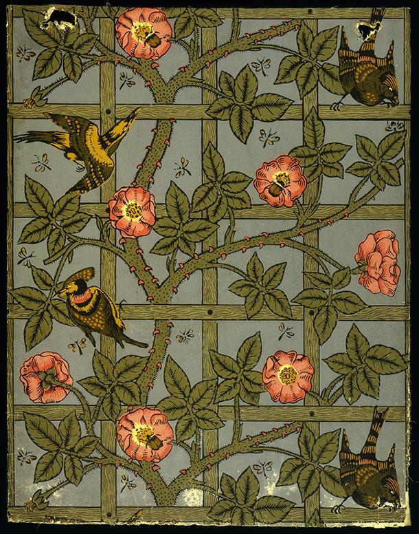Trellis woodblock printed wallpaper by William Morris England 610x776