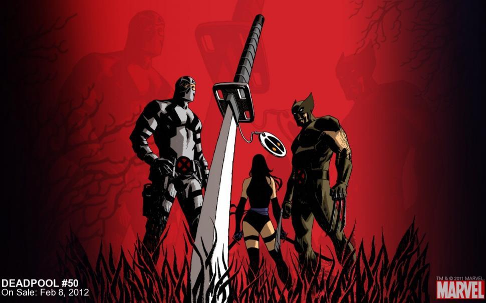 Deadpool Wolverine Sword Red X Men HD wallpaper anime 970x606