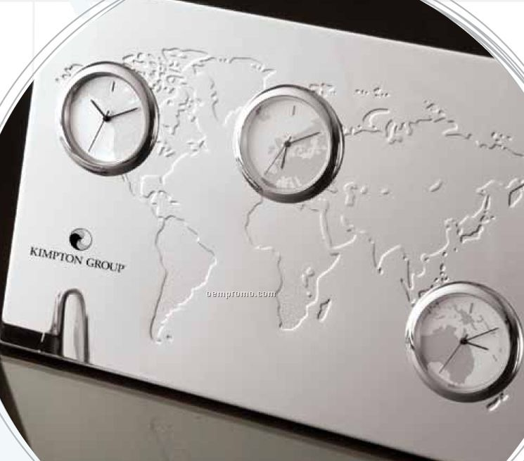 Three Time Zone Promotional Desk Clock S 745x655