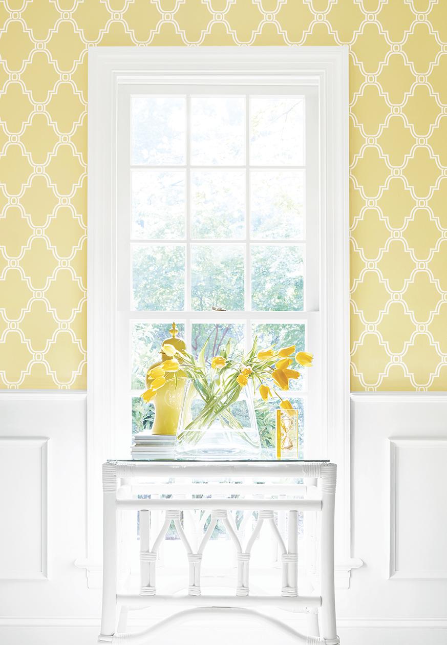 Stanbury Trellis wallpaper in Yellow thibaut Graphic Resource 873x1260
