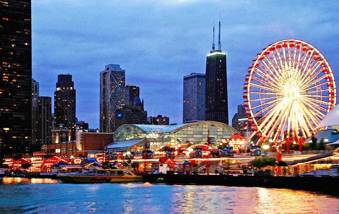 Chicago Skyline  Navy Pier by pixelmama 1334x842