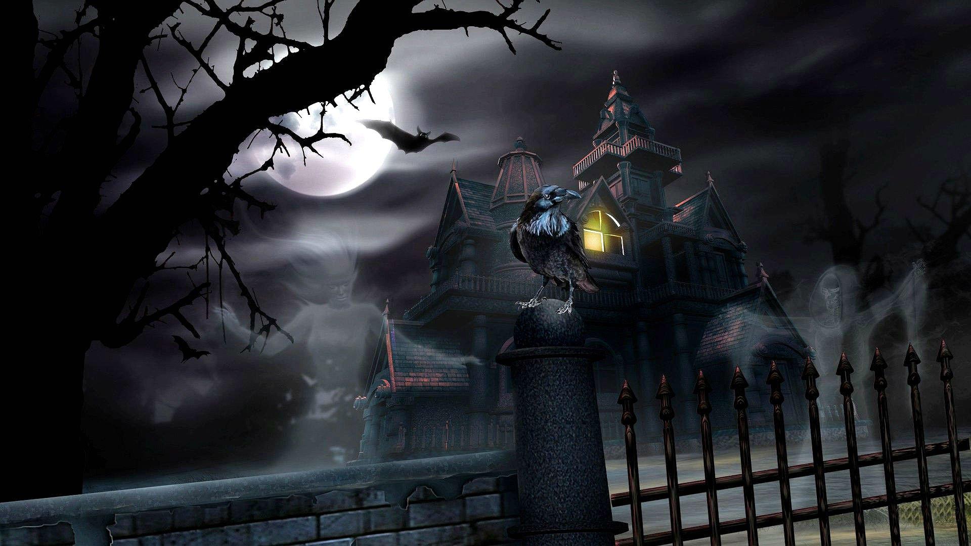 HALLOWEEN dark haunted house spooky wallpaper 1920x1080 1920x1080