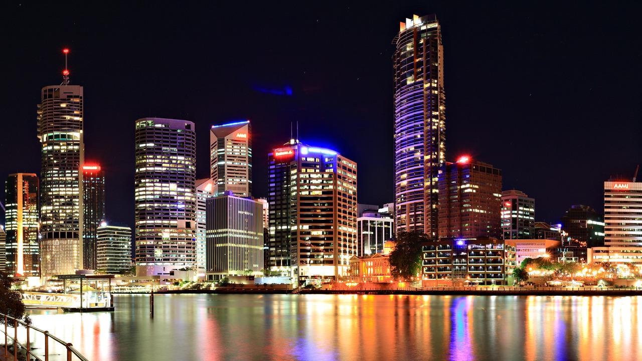 Colored City Night Lights wallpaper 1280x720