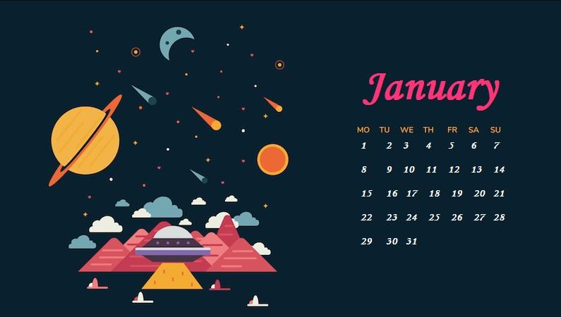 January 2018 HD Calendar Calendar 2018 795x450