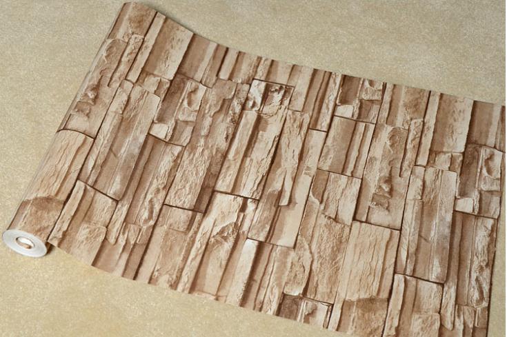 Stacked Brick Stone Wallpaper Brown Grey Beige Vinyl Wallpaper eBay 735x489
