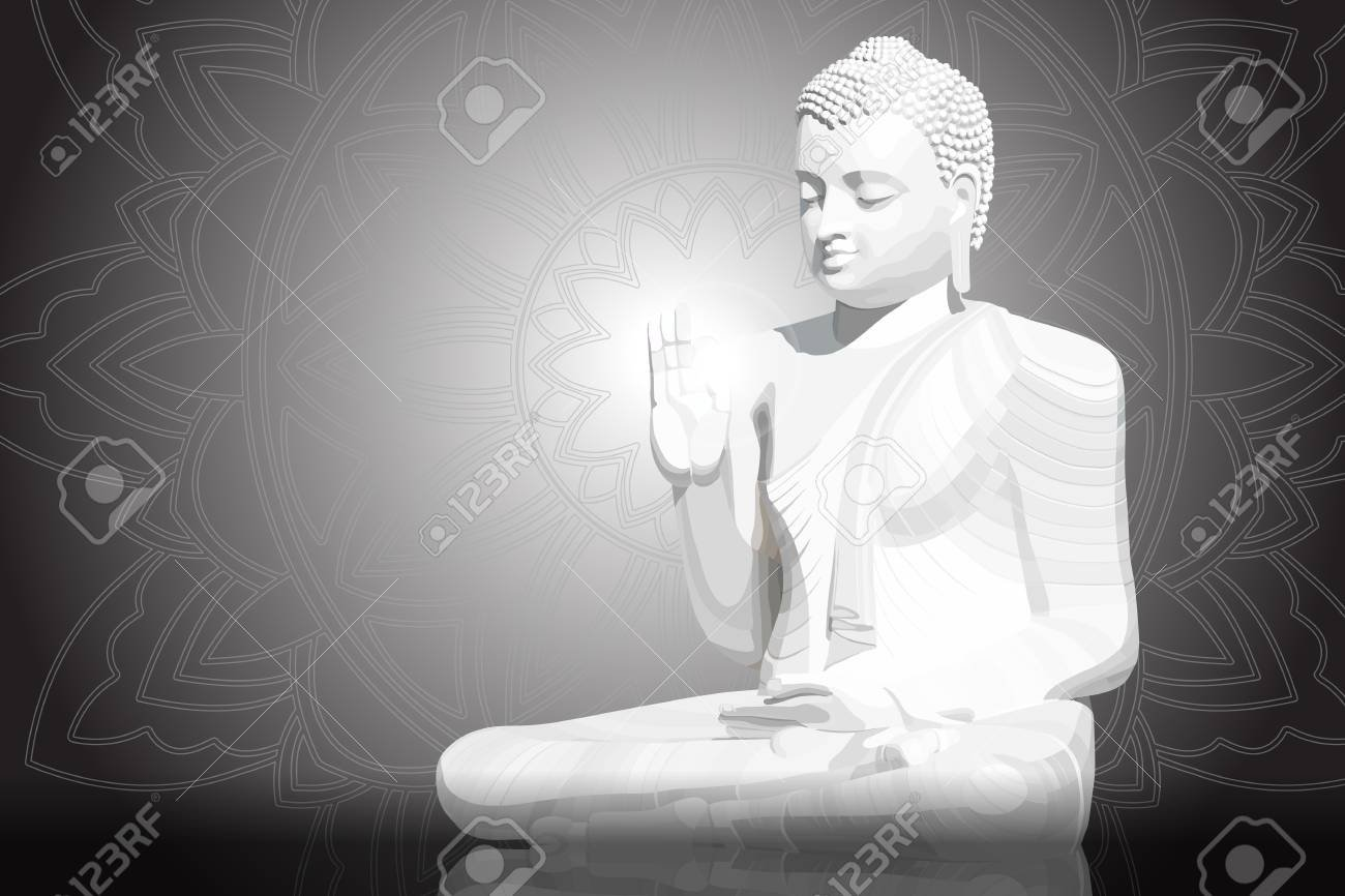 Meditating White Buddha Posture On Black Mandala Background 1300x866
