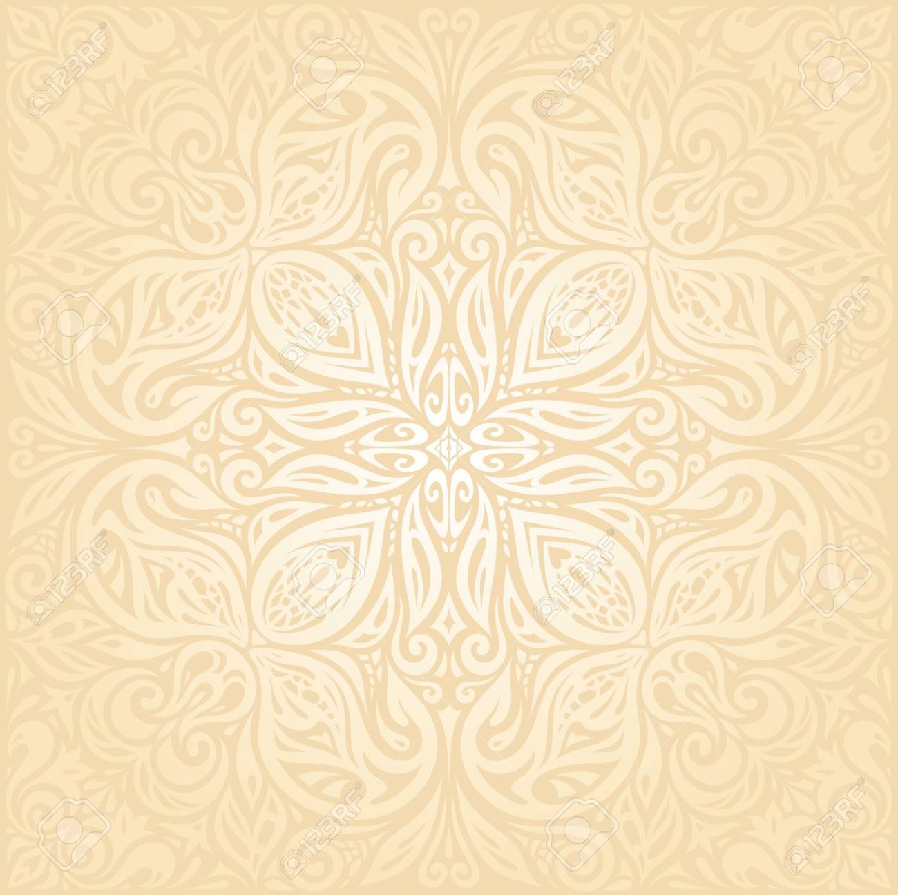 Floral Retro Wedding Pale Peach Mandala Background Design 1300x1296