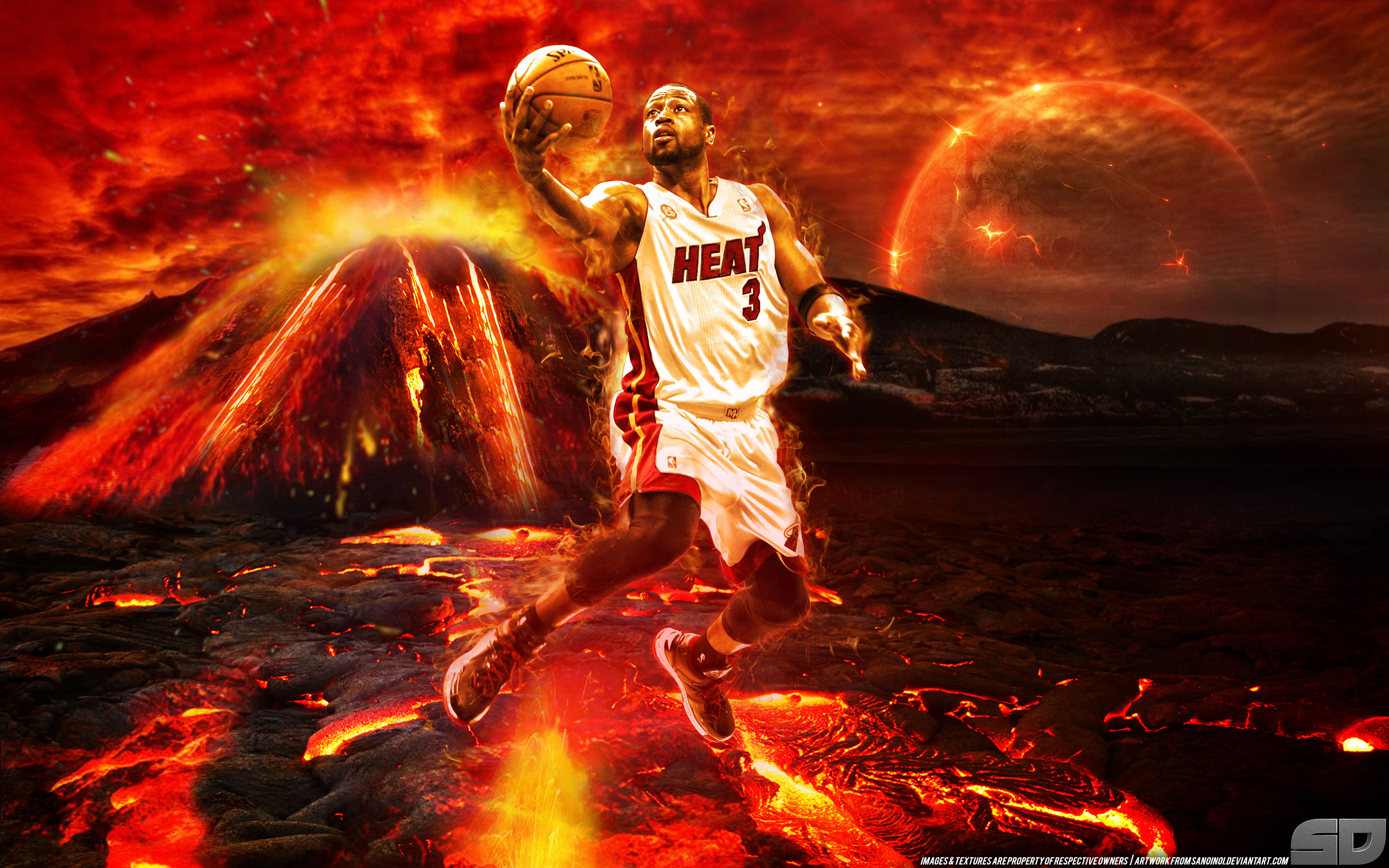 Dwyane Wade On Fire 2014 Wallpaper Basketball Wallpapers at 2880x1800