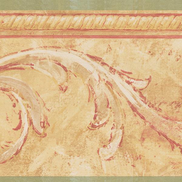 Beige Floral Scroll Border Wallpaper 600x600