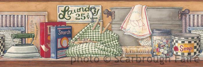 laundry room vintage wallpaper border - photo #38