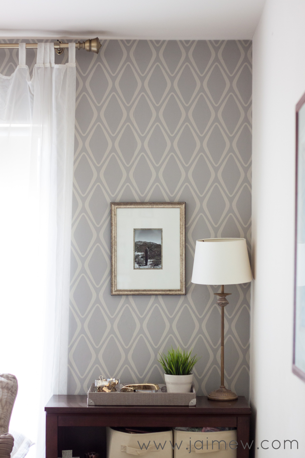 Patterned Wallpaper Accent Wall in the Office removable wallpaper 1000x1500