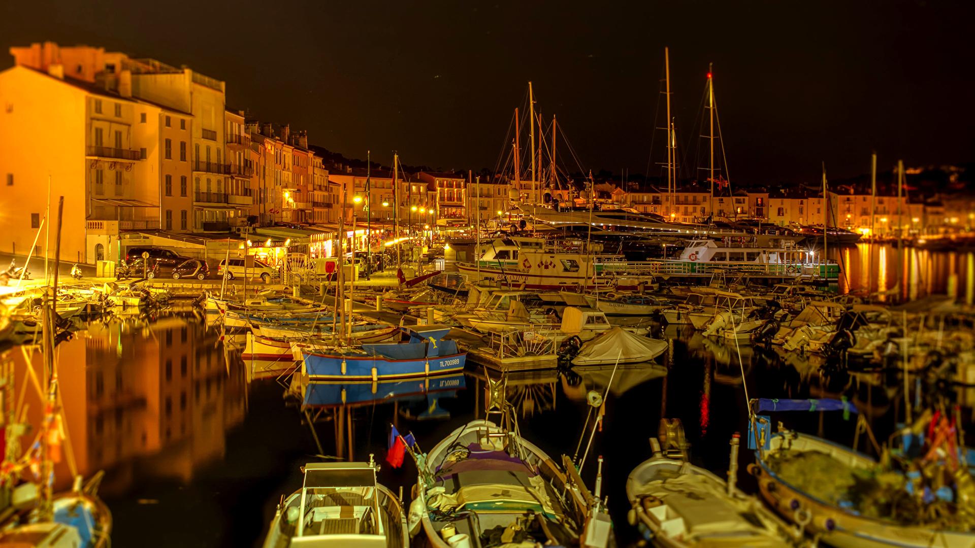 Wallpapers France Saint Tropez Pier Sailing night time 1920x1080 1920x1080