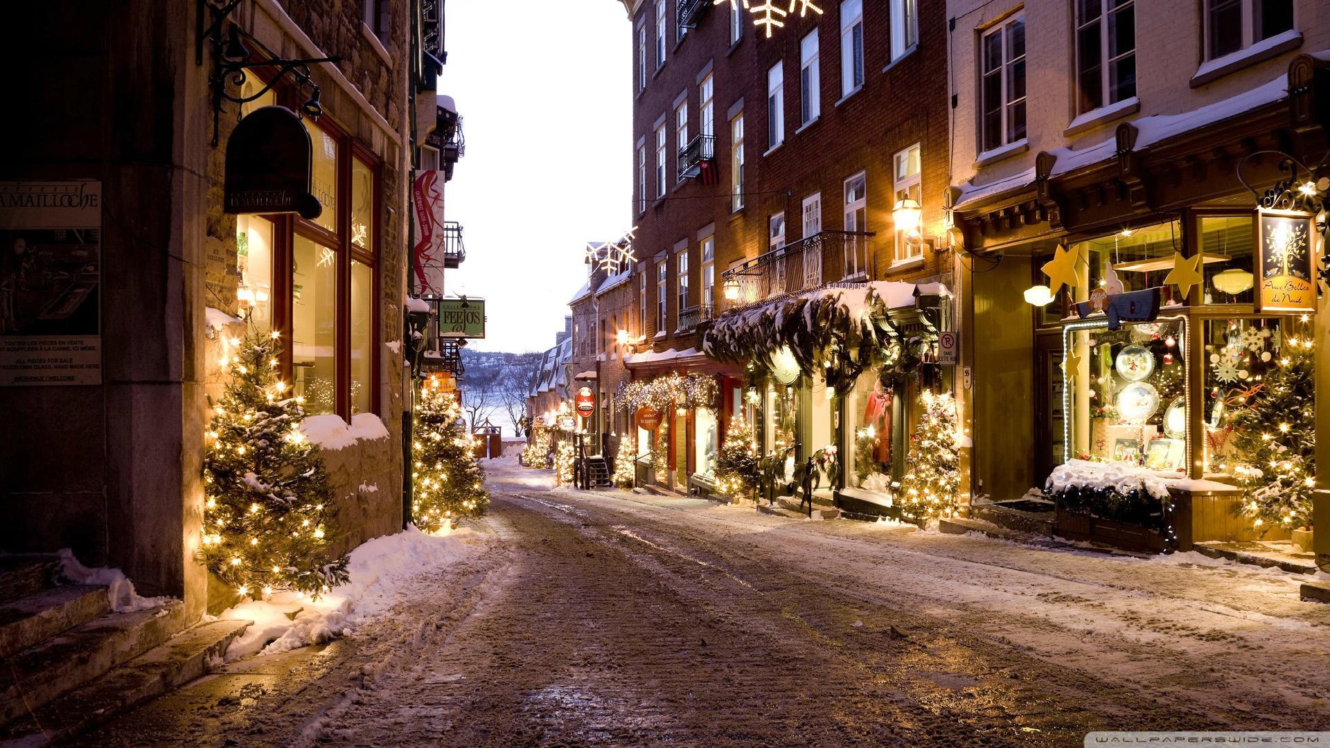 Holiday   Christmas Christmas Tree Christmas Lights Street Wallpaper 1920x1080