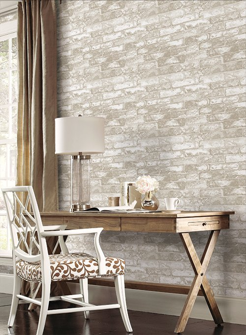 Faux Gray and White Brick Wallpaper 30MR 500x681