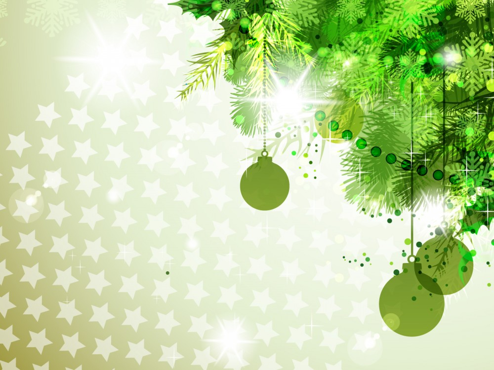 Green with new year decorations Backgrounds   Christmas 1000x750
