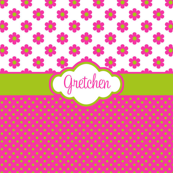 Download Pink And Lime Green Polka Dots Backgrounds Hot Pink Flower